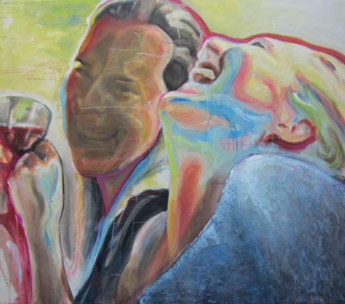 acrylic on unprepared canvas, 110 x 150 cm